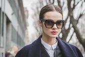 Beautiful Model Outside Armani Fashion Show Building For Milan Women's Fashion Week 2015