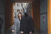 Man With Rabbit Mask Outside Armani Fashion Show Building For Milan Women's Fashion Week 2015