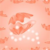 picture of pearl-oyster  - Seamless  texture   sea shells and pearl necklace pink background vector Illustration - JPG