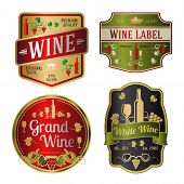 Set of colorful wine labels, different shapes. Vector
