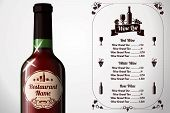 Menu template - for alcohol with realistic red wine bottle. Vector