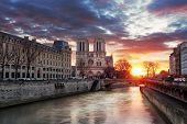 Notre Dame Cathedral At Sunrise In Paris, France