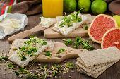 Healthy Breakfast, Crispbread With Organic Cream Cheese