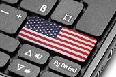 Go To United States! Computer Keyboard With Flag Key.