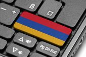 Go To Armenia! Computer Keyboard With Flag Key.