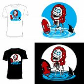 Skeletons. T-shirt. Malibu