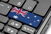 Go To Australia! Computer Keyboard With Flag Key.