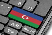 Go To Azerbaijan! Computer Keyboard With Flag Key.