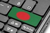 Go To Bangladesh! Computer Keyboard With Flag Key.