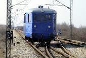 foto of railroad yard  - old railway car drives on rail way - JPG