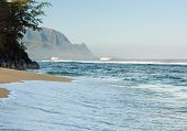 picture of na  - Hideaways Beach near Hanalei in Kauai with the Na Pali mountain range in the background - JPG