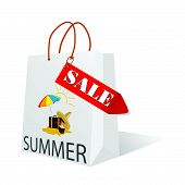 Paper Bag With Summer Sale Illustration