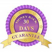 Money, back, guarantee, badge, label, sign, vector, illustration, purple