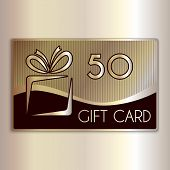 Vector abstract gift card for fifty in gold and beige colors