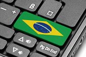Go To Brazil! Computer Keyboard With Flag Key.
