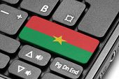 Go To Burkina Faso! Computer Keyboard With Flag Key.