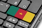Go To Cameroon! Computer Keyboard With Flag Key.