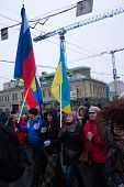 Russian And Ukrainian Flags Together For The Funeral March Of The Opposition To The Memory Of Boris