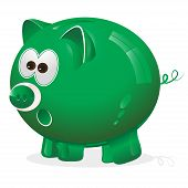 green piggy bank for savings