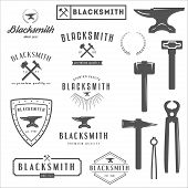 Collection of logo, elements and logotypes for blacksmith and shop