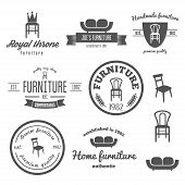 Set of vintage logo, badge,emblem and logotype elements for furniture shop