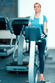 foto of exercise bike  - Cycling on exercise bike - JPG