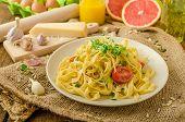 Semolina Pasta With Roasted Garlic, Sprinkled Microherbs