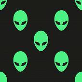 Universal vector alien heads seamless patterns.