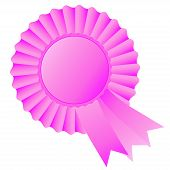 Rosette ribbon, pink, vector, illustration, badge, label, tag