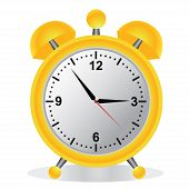 Alarm, clock, time, vector, illustration, yellow