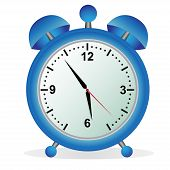 Alarm, clock, time, vector, illustration, blue
