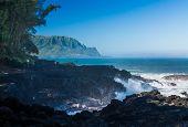 Waves Hit Rocks At Queens Bath Kauai