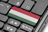 Go To Hungary! Computer Keyboard With Flag Key.