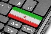 Go To Iran! Computer Keyboard With Flag Key.