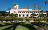 foto of city hall  - Spanish style architecture of Honolulu Hale or town hall in center of city of Honolulu Oahu Hawaii - JPG