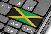 Go To Jamaica! Computer Keyboard With Flag Key.