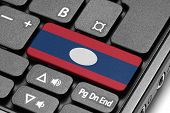 Go To Laos! Computer Keyboard With Flag Key.