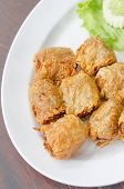 foto of crab-cakes  - deep fried crab meat roll cake on white dish chinese food