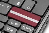 Go To Latvia! Computer Keyboard With Flag Key.