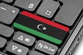 Go To Libya! Computer Keyboard With Flag Key.