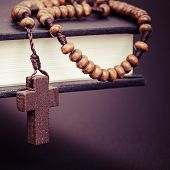 foto of jesus  - Christian cross necklace on Holy Bible book Jesus religion concept as good friday or easter festival - JPG