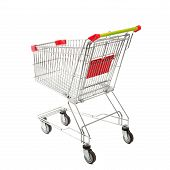 foto of four-wheel  - Empty Metal Retail Purchases Shopping Cart from the Supermarket on Four Wheels at the White Background - JPG
