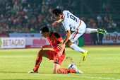 Sisaket Thailand-february 18: Adisak Kraisorn Of Bec Tero (white) In Action During Thai Premier Leag