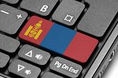 Go To Mongolia! Computer Keyboard With Flag Key.