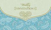 Wedding invitation envelope, blue and beige