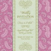 Wedding invitation, pink and beige