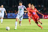 Sisaket Thailand-february 18: Tanaboon Kesarat Of Bec Tero (white) In Action During Thai Premier Lea