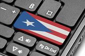Go To Puerto Rico! Computer Keyboard With Flag Key.