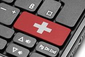 Go To Switzerland! Computer Keyboard With Flag Key.