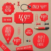 Set of commercial sale and discount stickers, elements, badges